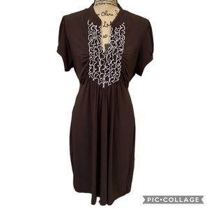 Heart Soul Brown Teal Dress Size 2X Stretchy
